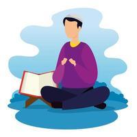 Mann muslimisch sitzend mit Koran offen vektor