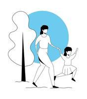 Mutter mit Tochter in Parklandschaft spazieren gehen vektor