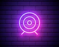 leuchtende Neon-Zielsymbol isoliert auf Mauer Hintergrund Dartscheibe Zeichen. Bogenschießen-Board-Symbol. Dartscheibe Zeichen. Geschäftszielkonzept. Vektor