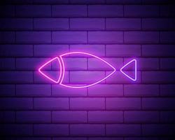 christliche Fisch-Umriss-Symbol. Elemente der Religion in Neon-Stil-Ikonen. einfaches Symbol für Websites, Webdesign, mobile App, Infografiken einzeln auf Ziegelwand. vektor