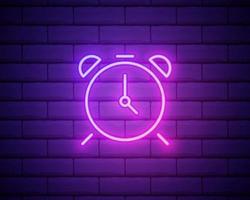 leuchtende Neon-Linie Wecker-Symbol auf Mauer Hintergrund isoliert. aufwachen, aufstehen Konzept. Zeitzeichen. Vektor-Illustration vektor