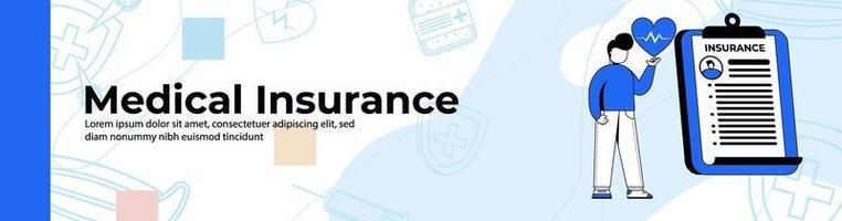 Krankenversicherung Web-Banner-Design. Ein Mann mit Krankenversicherung. Kopf- oder Fußzeilenbanner. vektor