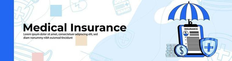 Krankenversicherung Web Banner Design.Health Insurance Board mit Regenschirm und Münzen. Kopf- oder Fußzeilenbanner. vektor