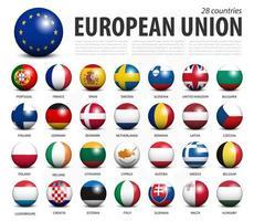 Europäische Union EU 3D-Kreisbälle Line-Up und Mitgliedsflaggen-Design. weißer isolierter Hintergrund und Europakarte. Vektor. vektor