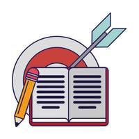 Buch und Bleistift mit Ziel Dartscheibe vektor