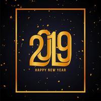 Goldener Konfettihintergrund des guten Rutsch ins Neue Jahr 2019 vektor