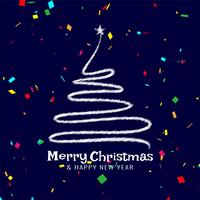 Feierhintergrund der frohen Weihnachten mit Konfetti vektor