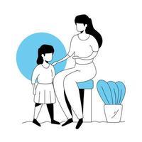 Mutter mit Tochter in Parklandschaft vektor