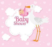 Babypartykarte mit süßem Storch und Dekoration vektor
