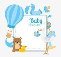 Babypartykarte mit Storch und Dekoration vektor