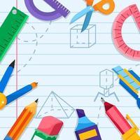 Schulbedarf quadratischer Hintergrund vektor