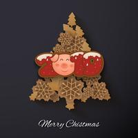 Gott nytt år och god julhälsningskort bakgrund vektor