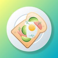 Avokado Toast With Salmon Illustration vektor