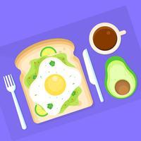 Avokado Toast Till Frukost Vector Illustration