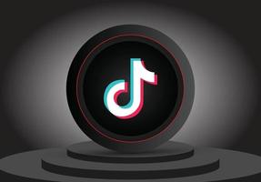Social Media 3D Tiktok Symbol vektor