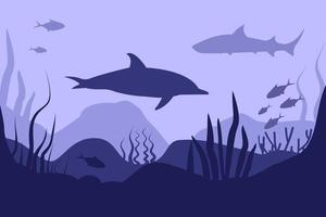 Meeresboden im abstrakten Stil auf tiefblauem Hintergrund. Meereslandschaft. flache Karikatur. Unterwasserwelt. Naturlandschaftsvorlage. schönes Poster für Konzeptdesign. Hintergrund. abstrakte Tapete. vektor
