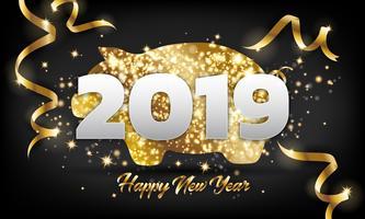 Kinesiskt Gott Nytt År 2019 Gyllene Pig Hälsningskort Bakgrund vektor
