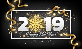 2019 Gott nytt år hälsningskort bakgrund. Vektor illustratio