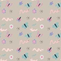 Kinder nahtlose Muster mit süßen Schmetterlingen, Würmern und Blumen. Vektor einfache handgezeichnete Illustration im süßen skandinavischen Stil