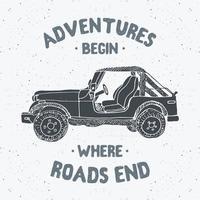 Offroad-Geländewagen, Vintage-Etikett, handgezeichnete Skizze, Grunge-strukturiertes Retro-Abzeichen, Typografie-Design-T-Shirt-Druck, Vektorillustration vektor