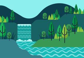 Vår Landscape Vector Illustration