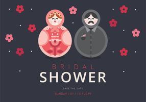 Bridal Shower Invitation Skandinavisk stil Matryoshka Figur vektor