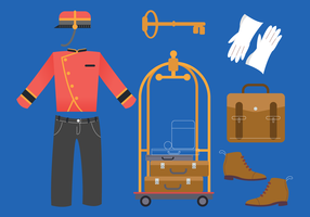 Hotelpage Hoteloffizier Outfit Vector Illustration