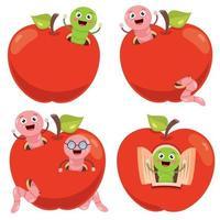 roter Apfel und Cartoon-Wurm vektor