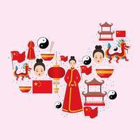 chinesisches land abbildung vektor