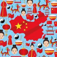 chinesisches landdesign vektor