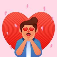 Junge mit Herzaugen