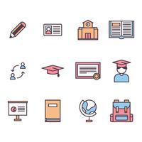 Umrissene Symbole über Bildung im Ausland vektor