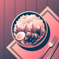 Bento Box Karage Med Sausage Overhead Se Vektor Illustration