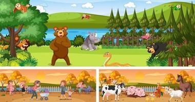 Reihe von verschiedenen Panorama-Landschaftsszenen im Freien mit Zeichentrickfigur vektor