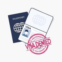 Reisepass mit rotem Stempel, Visum verweigert. vektor