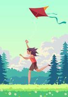 Leute, die einen Drachen im Sommer fliegen vektor