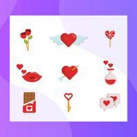 Flache einfache Valentinsgruß-Tageselement-Vektor-Ikonen-Sammlung