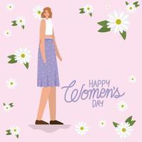 8. März Frauentag Schriftzug und süße Frau mit lila Rock vektor