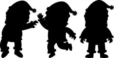 Satz Weihnachtsmann Silhouette Zeichentrickfigur vektor