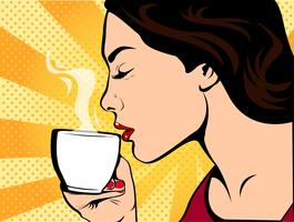 Tjej med kopp kaffe pop art retro stil. Restauranger och kaféer. En varm dryck. Modet kärlek och vård.