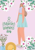 8. März Frauentag Schriftzug und süße Frau mit blauem Rock vektor