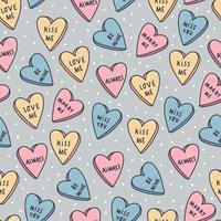 godis hjärtan mönster vektor