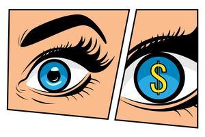 Finanzüberwachung des Währungsdollargeschäftsmannes oder -geschäftsfrau im komischen Storyboard-Pop-Art-Retrostil. Dollarzeichen in den Augen. Bunter Vektorhintergrund im Retro- Comic der Pop-Art