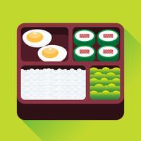 Japansk Box Lunch Vektor Illustration