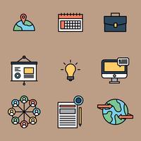 Internationella affärer skisserade ikoner