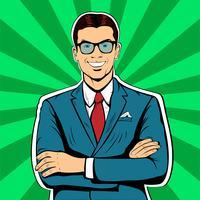 Retro- Weinleseart der männlichen Geschäftsmannpop-art