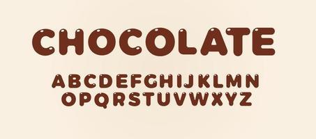Schokoladenbuchstaben eingestellt. braunes fettes Alphabet. Schriftart für Süßigkeiten-Cover, Kindergeburtstag, Schokoladengetränk und Lebensmittellogo, Vektortypografie-Design. vektor