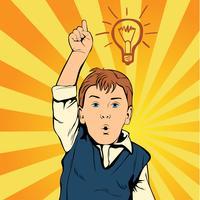 Barnidé med utkastslampa. Kreativ pojke kom upp med idén. Mannen på jobbet. Retro stil popkonst