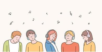 Menschen tragen Headsets und hören Musik. handgezeichnete Stilvektordesignillustrationen. vektor