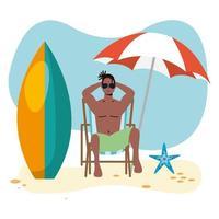 Afro-Mann im Badeanzug sitzt im Strandkorb vektor